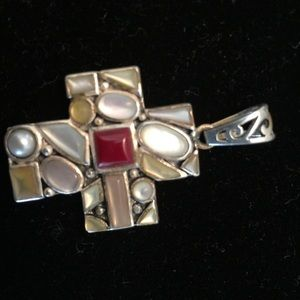 Jewelry - Sterling silver 925 multi stones cross